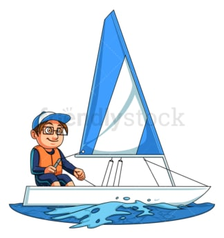 Little boy sailing. PNG - JPG and vector EPS (infinitely scalable).