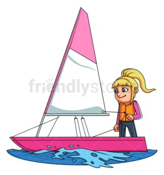 Little girl sailing. PNG - JPG and vector EPS (infinitely scalable).