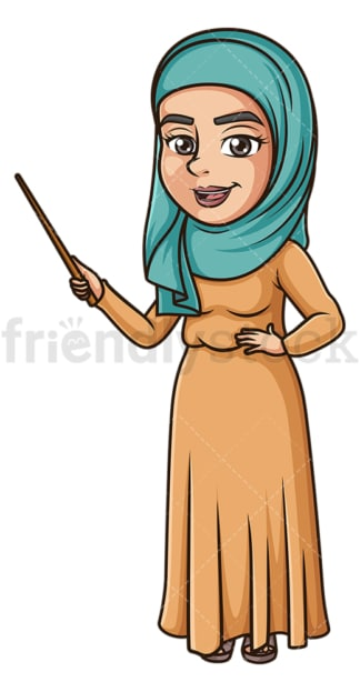Muslim woman teaching. PNG - JPG and vector EPS (infinitely scalable).