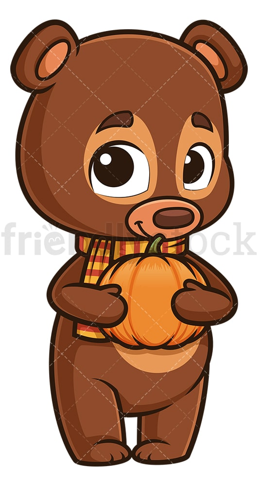 Autumn bear holding pumpkin. PNG - JPG and vector EPS (infinitely scalable).