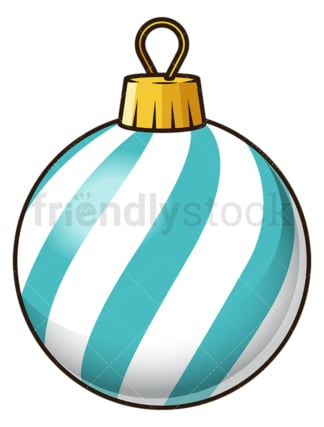Blue striped christmas ball. PNG - JPG and vector EPS file formats (infinitely scalable). Image isolated on transparent background.