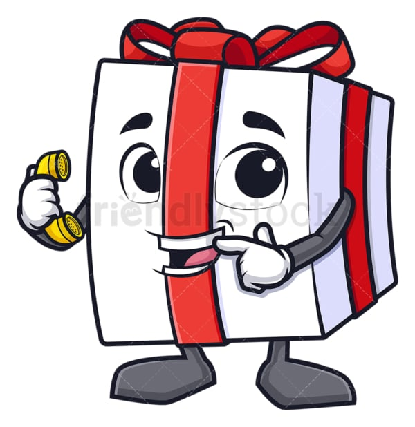 Gift box pointing to phone. PNG - JPG and vector EPS (infinitely scalable).