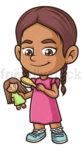 Hispanic girl combing doll. PNG - JPG and vector EPS (infinitely scalable).