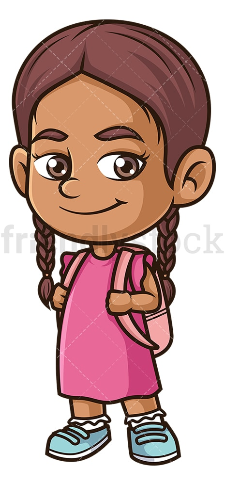 Hispanic girl going to school. PNG - JPG and vector EPS (infinitely scalable).