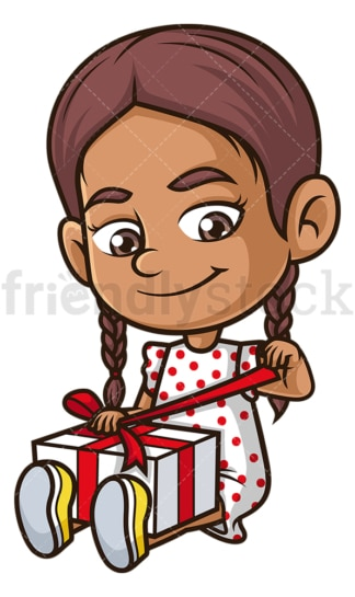 Hispanic girl opening present. PNG - JPG and vector EPS (infinitely scalable).