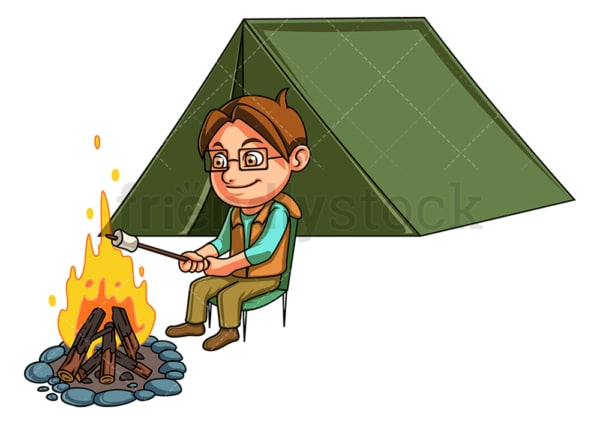 Little boy camping. PNG - JPG and vector EPS (infinitely scalable).