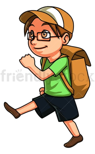 Little boy going to summer camp. PNG - JPG and vector EPS (infinitely scalable).