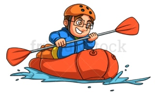 Little boy rafting. PNG - JPG and vector EPS (infinitely scalable).