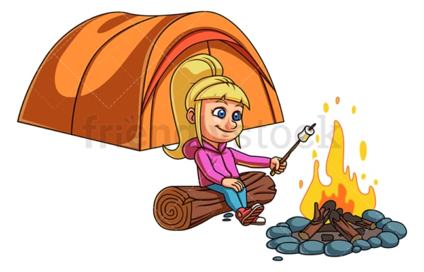 Little girl camping. PNG - JPG and vector EPS (infinitely scalable).