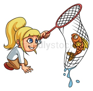 Little girl catching fish with net. PNG - JPG and vector EPS (infinitely scalable).