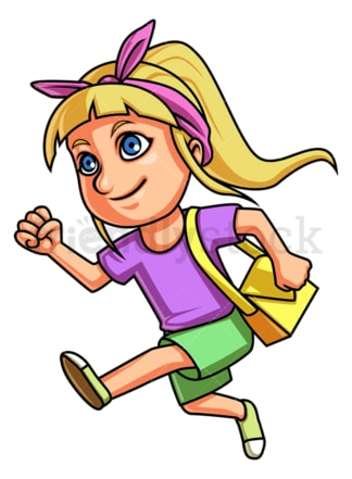 Little girl going to summer camp. PNG - JPG and vector EPS (infinitely scalable).