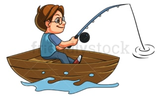 Boy fisherman on boat. PNG - JPG and vector EPS (infinitely scalable).