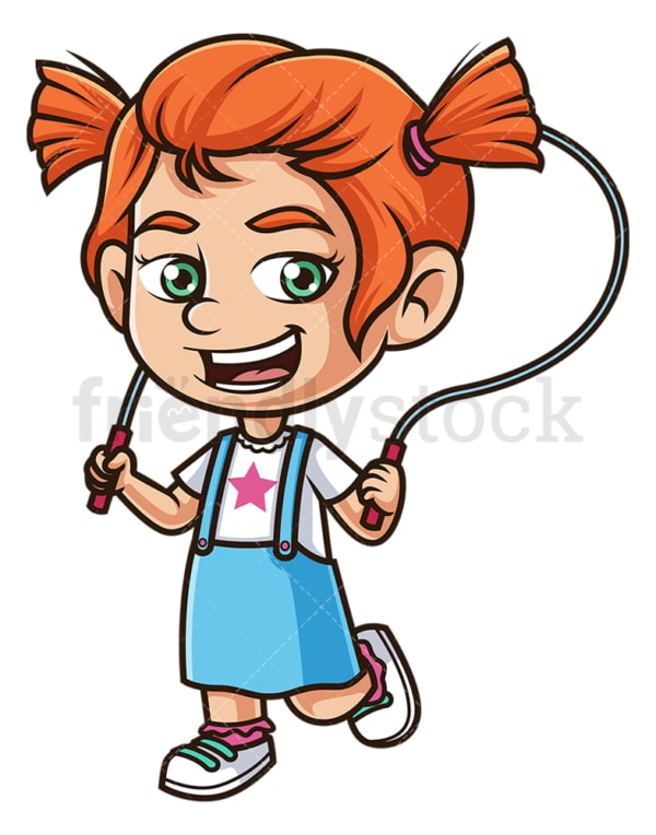 Cute girl playing jump rope. PNG - JPG and vector EPS (infinitely scalable).