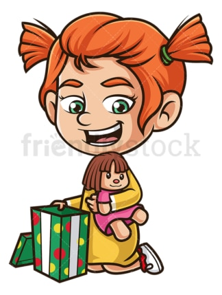 Ginger girl opening present. PNG - JPG and vector EPS (infinitely scalable).