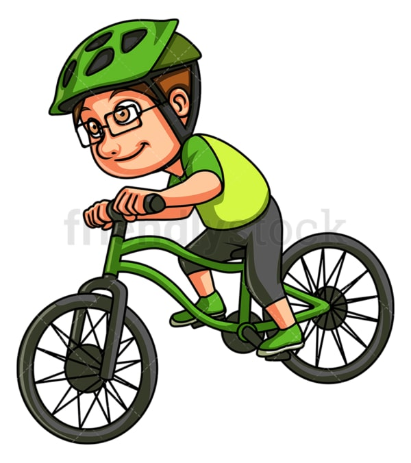 Little boy riding mountain bike. PNG - JPG and vector EPS (infinitely scalable).