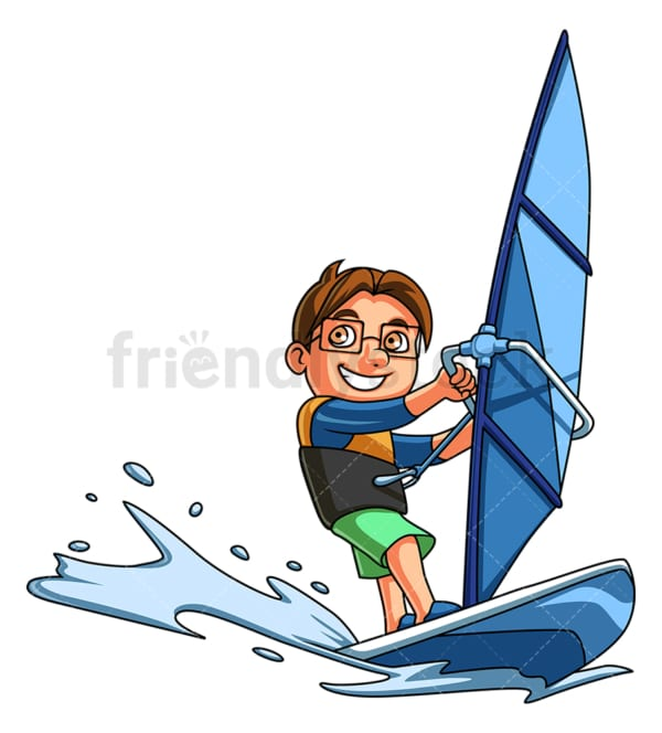Little boy windsurfing. PNG - JPG and vector EPS (infinitely scalable).
