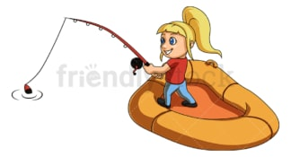 Little girl fishing. PNG - JPG and vector EPS (infinitely scalable).