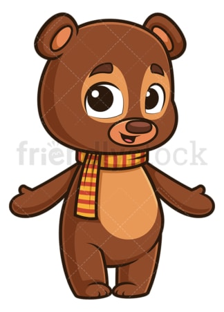 Welcoming autumn bear. PNG - JPG and vector EPS (infinitely scalable).