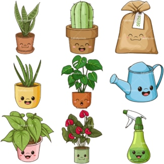 Kawaii plants. PNG - JPG and infinitely scalable vector EPS - on white or transparent background.
