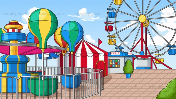 Amusement park background in 16:9 aspect ratio. PNG - JPG and vector EPS file formats (infinitely scalable).