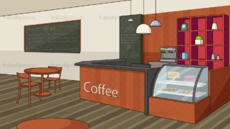 Coffee shop counter background in 16:9 aspect ratio. PNG - JPG and vector EPS file formats (infinitely scalable).