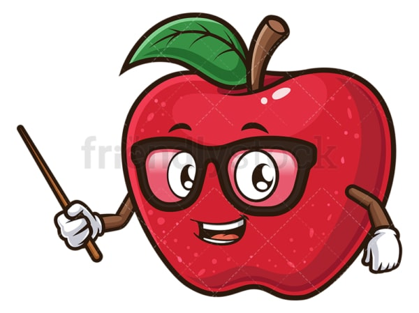 Cartoon apple teaching. PNG - JPG and vector EPS (infinitely scalable).