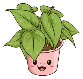 Kawaii indoor plant. PNG - JPG and vector EPS (infinitely scalable).