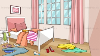 Messy girl's room background in 16:9 aspect ratio. PNG - JPG and vector EPS file formats (infinitely scalable).