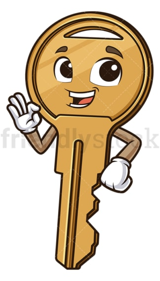 Cartoon key making an a-ok gesture. PNG - JPG and vector EPS (infinitely scalable).