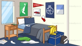 Untidy boy's room background in 16:9 aspect ratio. PNG - JPG and vector EPS file formats (infinitely scalable).