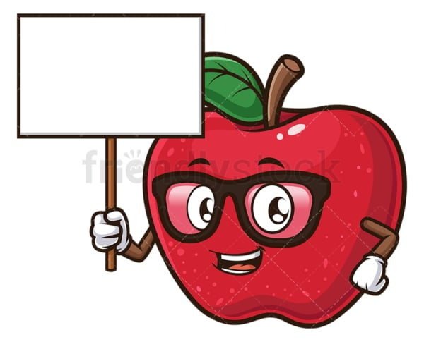 Apple holding blank sign. PNG - JPG and vector EPS (infinitely scalable).