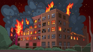 Building on fire background in 16:9 aspect ratio. PNG - JPG and vector EPS file formats (infinitely scalable).