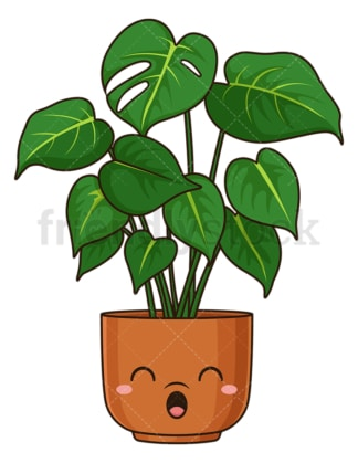 Kawaii swiss cheese plant. PNG - JPG and vector EPS (infinitely scalable).