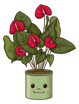Kawaii anthurium. PNG - JPG and vector EPS (infinitely scalable).