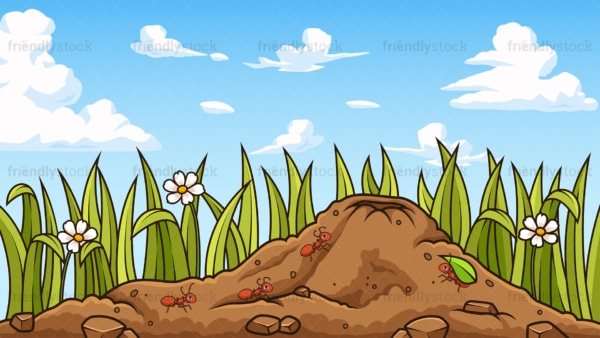 Ant hill background in 16:9 aspect ratio. PNG - JPG and vector EPS file formats (infinitely scalable).