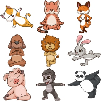 Animals doing yoga. PNG - JPG and infinitely scalable vector EPS - on white or transparent background.