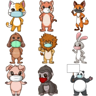 Animals with face masks. PNG - JPG and infinitely scalable vector EPS - on white or transparent background.