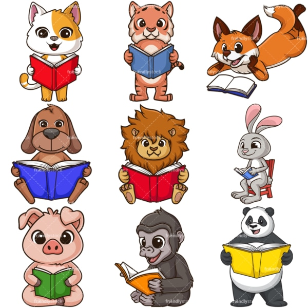 Cartoon animals reading books. PNG - JPG and infinitely scalable vector EPS - on white or transparent background.