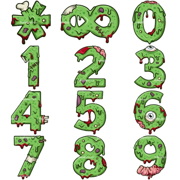 Cartoon zombie numbers. PNG - JPG and vector EPS file formats (infinitely scalable). Images isolated on transparent background.