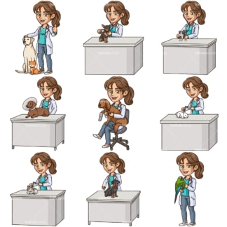 Female veterinarian. PNG - JPG and infinitely scalable vector EPS - on white or transparent background.