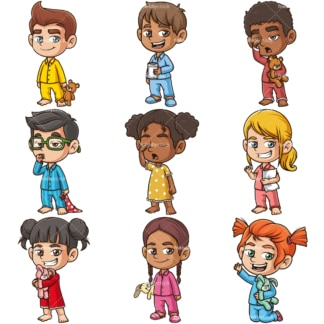 Kids wearing pajamas. PNG - JPG and infinitely scalable vector EPS - on white or transparent background.