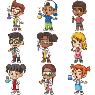Science kids. PNG - JPG and infinitely scalable vector EPS - on white or transparent background.