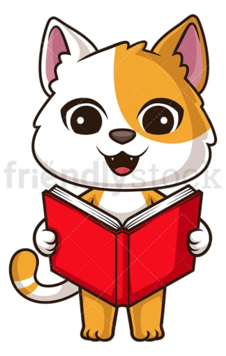 Cat reading book. PNG - JPG and vector EPS (infinitely scalable).