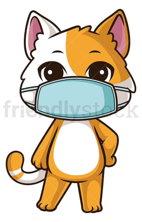 Cat with face mask. PNG - JPG and vector EPS (infinitely scalable).