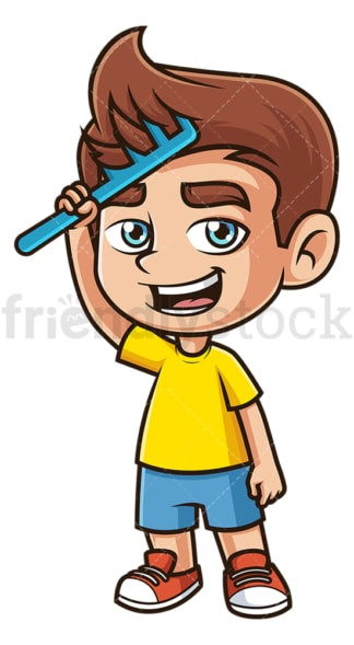 Caucasian boy combing his hair. PNG - JPG and vector EPS (infinitely scalable).
