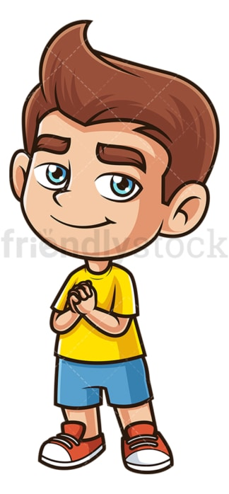 Caucasian boy praying. PNG - JPG and vector EPS (infinitely scalable).