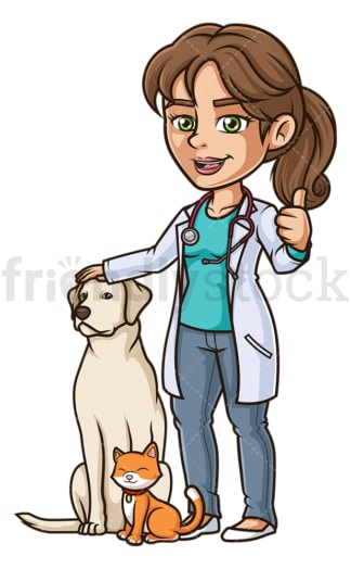 Happy female veterinarian. PNG - JPG and vector EPS (infinitely scalable).
