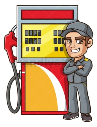 Gas station attendant. PNG - JPG and vector EPS file formats (infinitely scalable). Image isolated on transparent background.