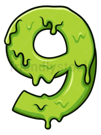 Slime number 9. PNG - JPG and vector EPS file formats (infinitely scalable). Image isolated on transparent background.