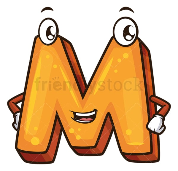Cartoon letter m. PNG - JPG and vector EPS file formats (infinitely scalable). Image isolated on transparent background.